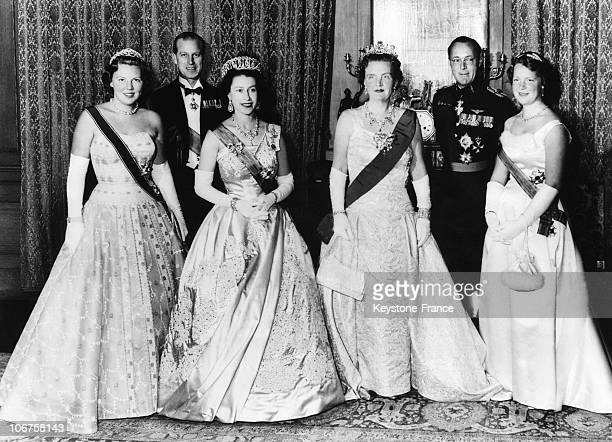Amsterdam Hm The Queen Elizabeth Ii And Prince Philipp With Dutch Royal Family In March 1958