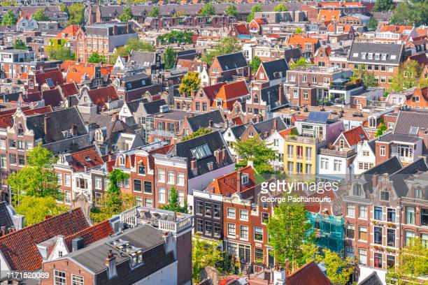 amsterdam houses from above - amsterdam stock pictures, royalty-free photos & images
