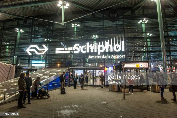 Amsterdam International Airport Schiphol as seen on November 19 2017 The airport terminal is already decorated with lights and Christmas trees...