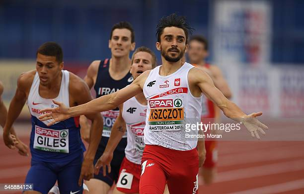 Amsterdam Netherlands 10 July 2016 Adam Kszczot of Poland celebrates winning gold in the Men's 800m Final on day five of the 23rd European Athletics...