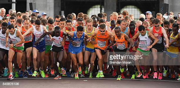 Amsterdam Netherlands 10 July 2016 Athletes vie for position at the start of the Men's Half Marathon on day five of the 23rd European Athletics...