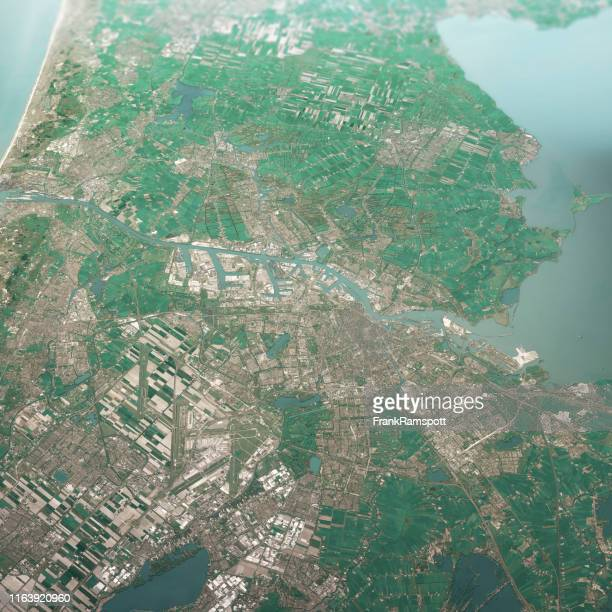 amsterdam nederland 3d renderen luchtfoto landschap uitzicht vanaf zuid-apr 2019 - nederland stockfoto's en -beelden