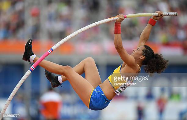 Amsterdam Netherlands 9 July 2016 Angelica Bengtsson of Sweden in action during the Women's Pole Vault Final on day four of the 23rd European...