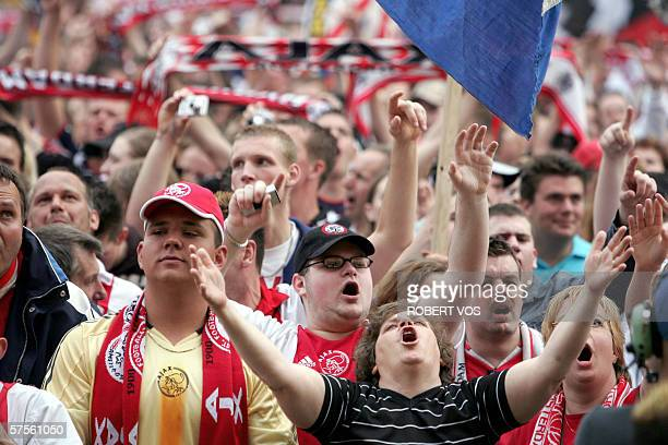 Fans of Ajax Amsterdam's club celebrate after winning the National Cup 08 May 2006 at the Leidseplein in Amsterdam Ajax Amsterdam beat league...