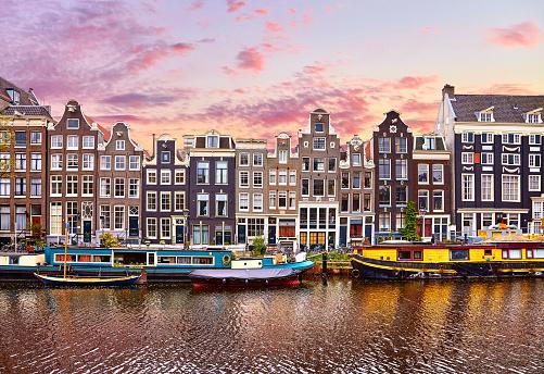 Amsterdam, Netherlands. Houseboats, dancing houses 1130320156