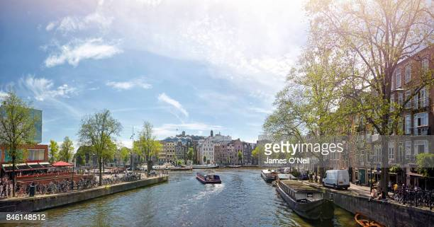 panoramic view canals amsterdam netherlands