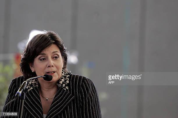 This file picture taken 05 April 2006 shows Dutch Minister of Integration and Immigration and member of the labour party VVD Rita Verdonk giving a...