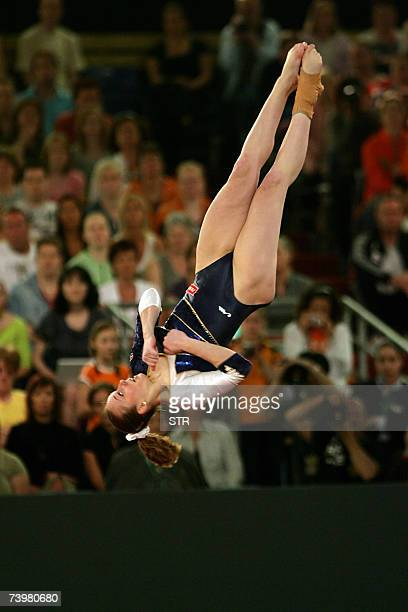 Verona Van De Leur of the Netherlands performs on the floor during the 2nd European Artistic Gymnastics individual championship in Amsterdam 26 April...