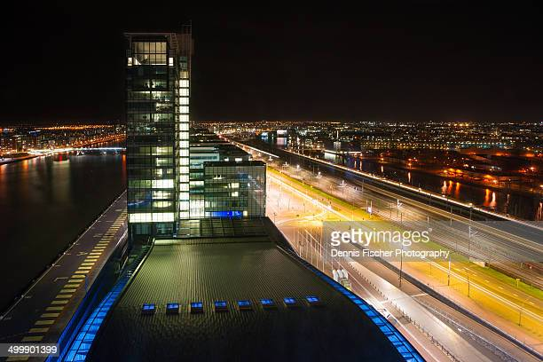 Amsterdam passenger terminal at night