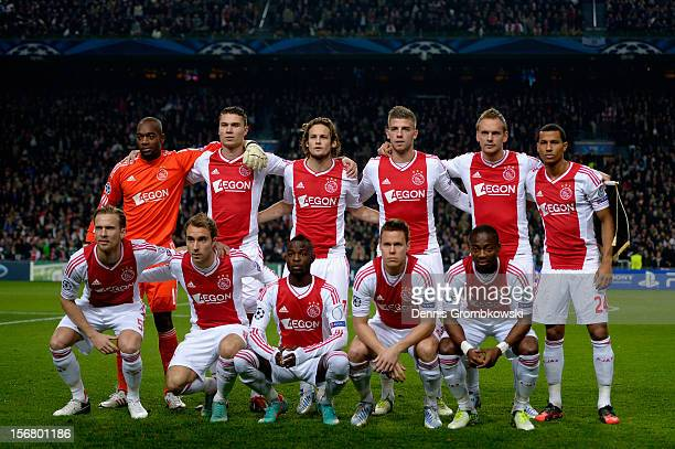 Amsterdam players pose for a team photo prior to the UEFA Champions League Group D match between Ajax Amsterdam and Borussia Dortmund at Amsterdam...