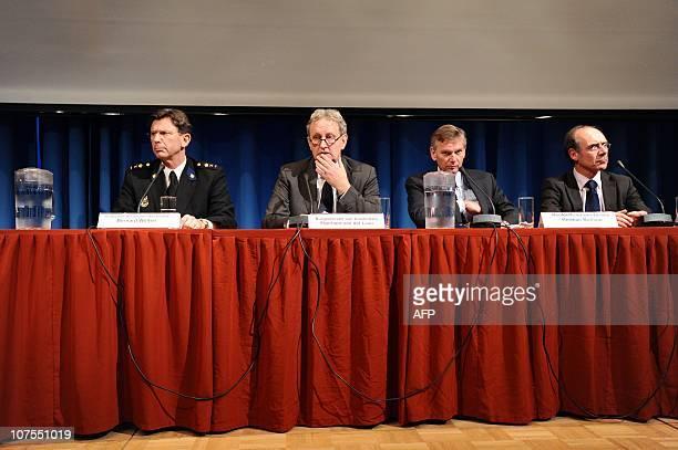 Amsterdam police chief Bernard Welten, mayor of Amsterdam Eberhard van der Laan, Amsterdam chief public prosecutor Herman Bolhaar and the head of the...
