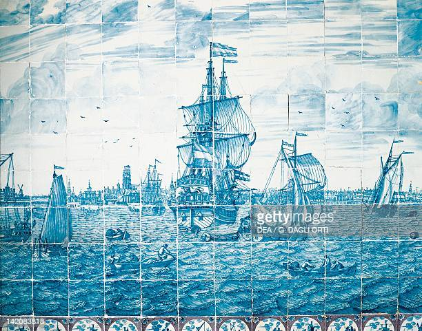 Amsterdam Port Delft ceramic wall decoration in Rambouillet Castle Netherlands 18th century Detail