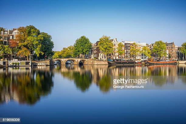 Amsterdam reflections on Amstel river