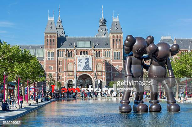 Amsterdam Rijksmuseum with tourists in summer