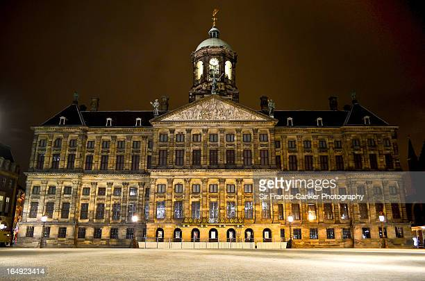 Amsterdam Royal Palace illuminated at night