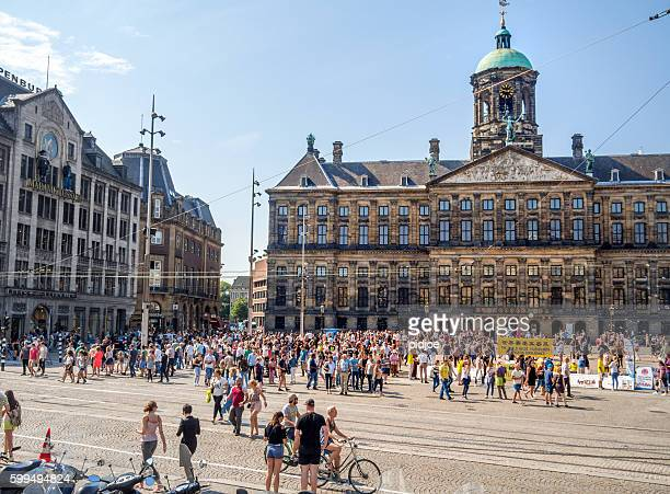 Amsterdam,  Royal Palace on the Dam, blue sky