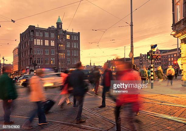 Amsterdam rush hour at dusk