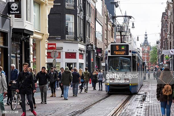 Amsterdam Shopping Street with Tram