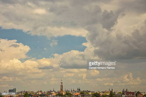 Amsterdam Skyline with a church westerkerk in background
