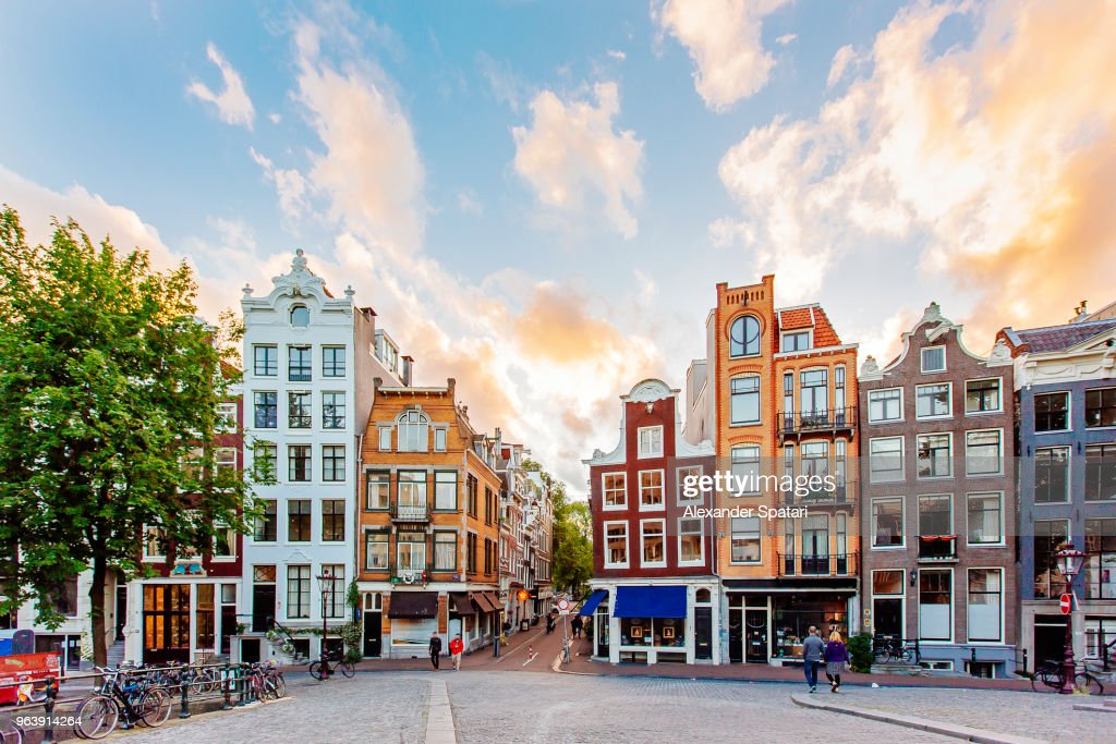 Amsterdam skyline with traditional Dutch houses during sunset, Holland, Netherlands : Stock Photo