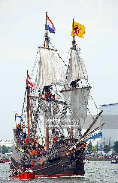 amsterdam: tall ships at sail amsterdam 2015 - galleon stock photos and pictures