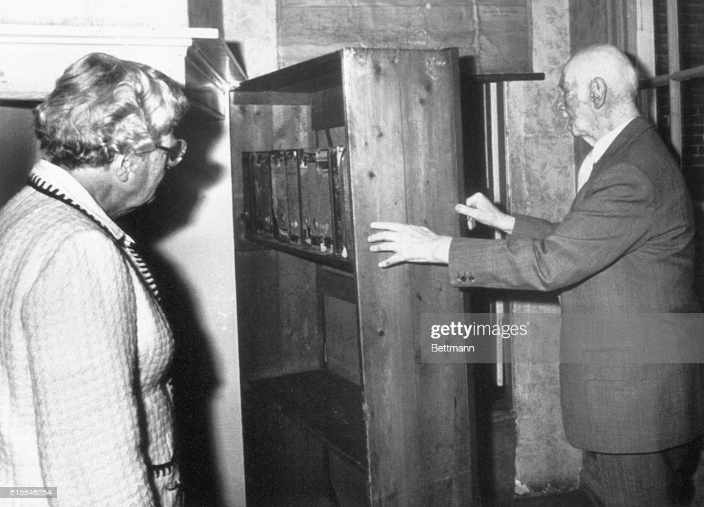 Mr. Otto Frank, father of Anne Frank, shows Queen Juliana of The Netherlands the hiding place of the Frank family during World War II. The Queen visited the Anne Frank House in Amsterdam at the occasion of the 50th anniversary of the birth of Anne Frank.