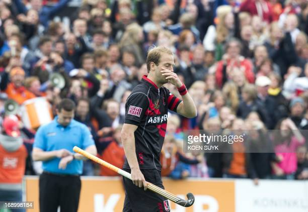 Amsterdam's Billy Bakker reacts during the Euro Hockey League semifinal match against Bloemendaal in Bloemendaal The Netherlands on May 18 2013