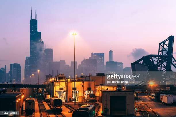 amtrak chicago car yard, chicago, illinois, america - willis tower stock photos and pictures