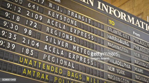 Amtrak departure board viewed from below
