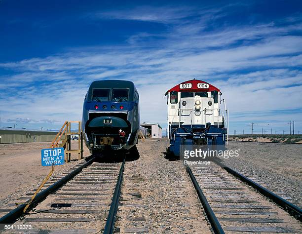 Amtrak new Acela Express trainset left at its test site prior to its introduction Pueblo Colorado