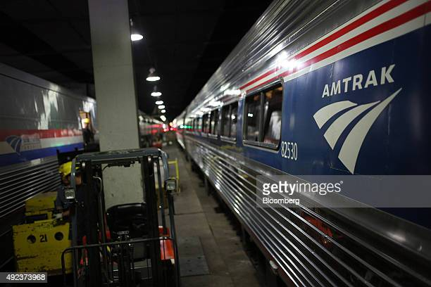 Amtrak passengers trains sit parked inside Union Station in Chicago Illinois US on Thursday Oct 8 2015 The head of Amtrak warned Congress that some...