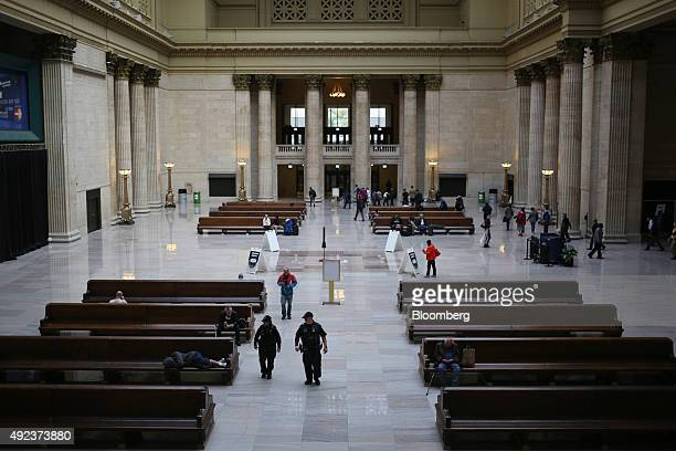 Amtrak Police officers center patrol inside Union Station in Chicago Illinois US on Thursday Oct 8 2015 The head of Amtrak warned Congress that some...