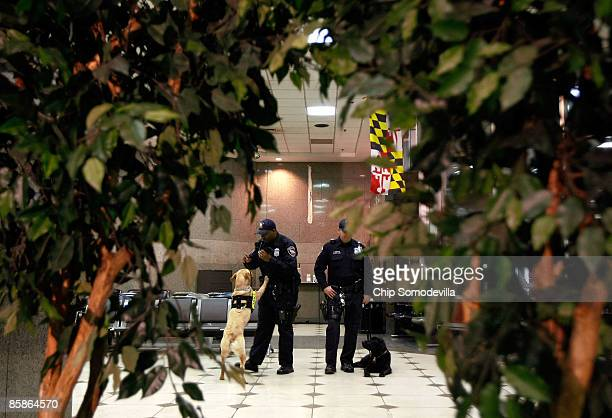 Amtrak Police officers Edward Ross with dog 'Zeta' and Dan Scanlon with dog 'Bleckey' prepare for a demonstration during a news conference to...
