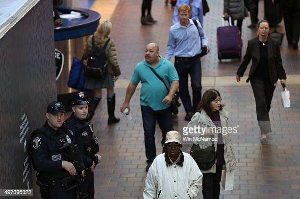 Amtrak police patrol Union Station November 16 2015 in Washington DC The Islamic State released a video this morning threatening additional attacks...