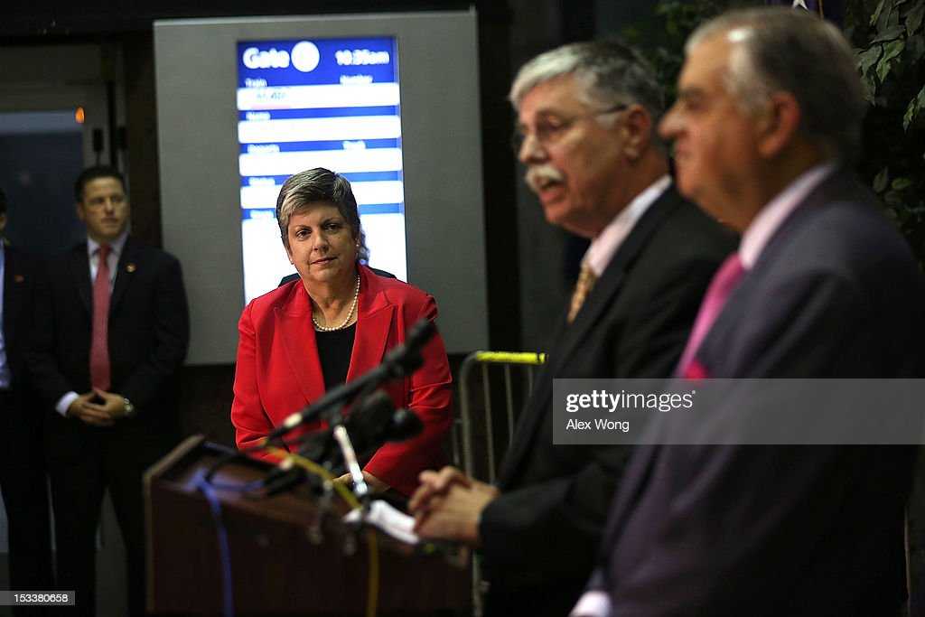 Amtrak President and CEO Joseph Boardman (2nd R) speaks as U.S. Secretary of Homeland Security Janet Napolitano (2nd L) and Secretary of Transportation Ray LaHood (R) listen during a news conference at Union Station October 4, 2012 in Washington, DC. A new partnership among the Department of Homeland Security (DHS), Department of Transportation (DOT) and Amtrak was announced at the news conference to train over 8,000 frontline transportation employees and Amtrak Police Department officers to combat human trafficking.