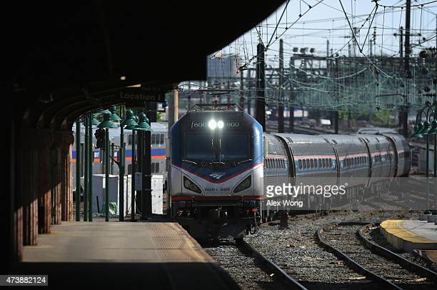 Amtrak Train 111 which was the first Northeast Regional train out of New York City at 530 am this morning arrives at Union Station May 18 2015 in...