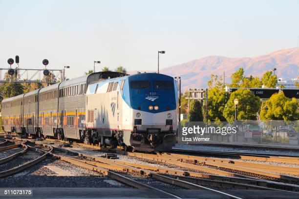 Amtrak train number 137 arriving at Diridon Railway Station in San Jose California