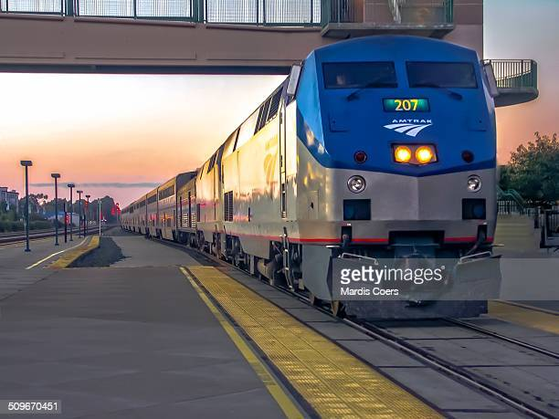 Amtrak train pulls into the train station at Emeryville California