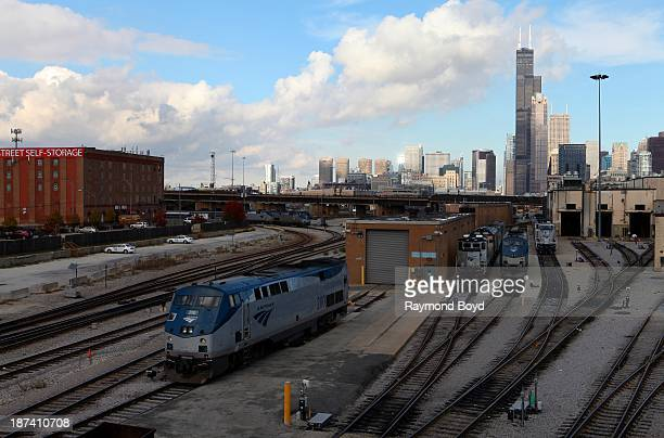 Amtrak trains as photographed from the 18th Street bridge in Chicago Illinois on NOVEMBER 03 2013