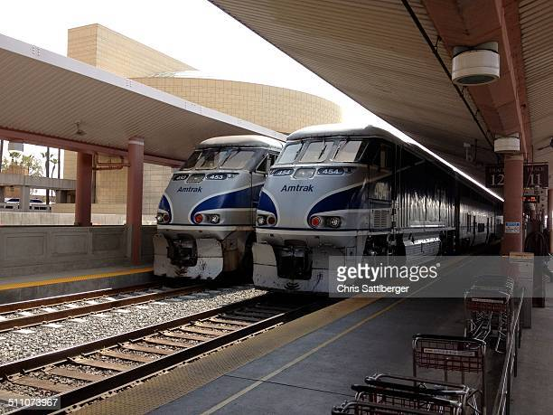 Amtrak trains at Los Angeles Union Station