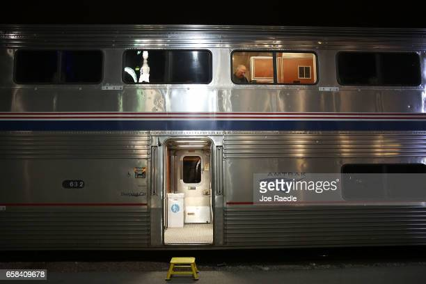 Amtrak's California Zephyr stops at a station during its daily 2438mile trip to Emeryville/San Francisco from Chicago that takes roughly 52 hours on...