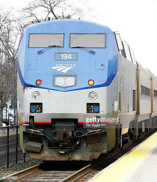 Amtrak's Hiawatha train from Milwaukee Wisconsin to Chicago departs from a stop at the Amtrak station February 8 2005 in Glenview Illinois US Senator...