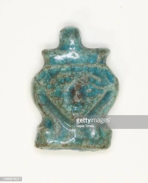 Amulet of the Goddess Hathor, New Kingdom, Dynasties 18–20 , Egyptian, Egypt, Faience, 1.6 × 1 × 0.3 cm .