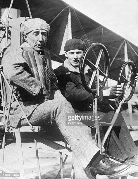Amundsen and his assistant Christaffsen testing one of their planes at San Francisco April 1913 for use on an expedition to the North Pole