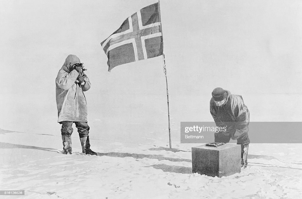 Proving themselves at the South Pole by use of sextant and artificial horizon. Captain Roald Amundsen discovered South Pole on December 14-17, 1911.