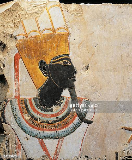 AmunMin God with a black face painted limestone relief height 74 cm from the Temple of Tuthmosis III at Deir elBahari Egyptian civilisation New...