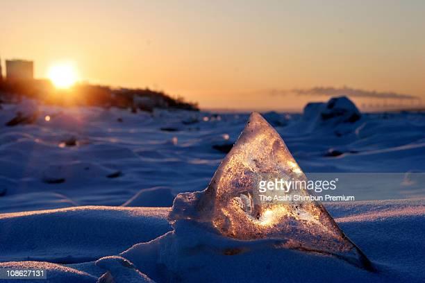 Amur River is seen frozen on January 25 2006 in Khabarovsk Russia