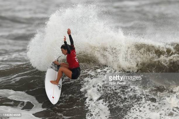 Amuro Tsuzuki of Team Japan surfs during the women's Quarter Final on day four of the Tokyo 2020 Olympic Games at Tsurigasaki Surfing Beach on July...
