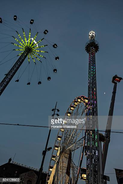Amusement park at De Dam, the central square facing the Royal Palace, in Amsterdam, Netherlands, 24 April 2015. Amsterdam is one of the most popular...