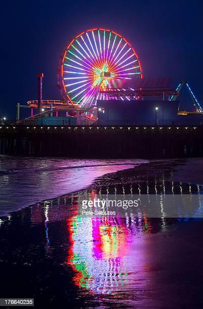 Amusement park at night, Santa Monica, California, USA